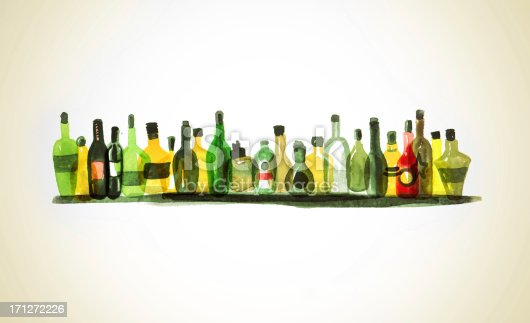 Watercolor painting of a variety of alcohol bottles on a bar shelf.