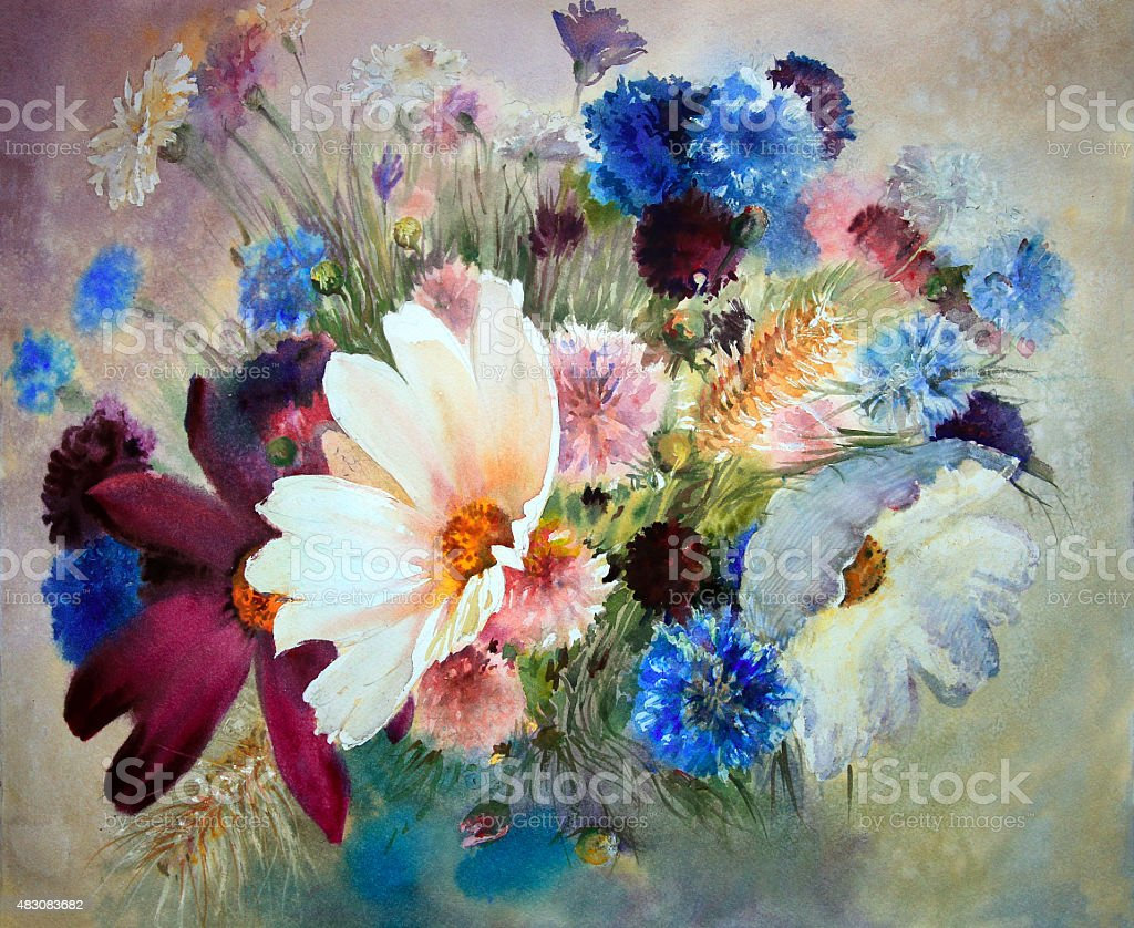 Watercolor painting of beautiful flowers stock vector art more watercolor painting of beautiful flowers royalty free watercolor painting of beautiful flowers stock vector izmirmasajfo Image collections