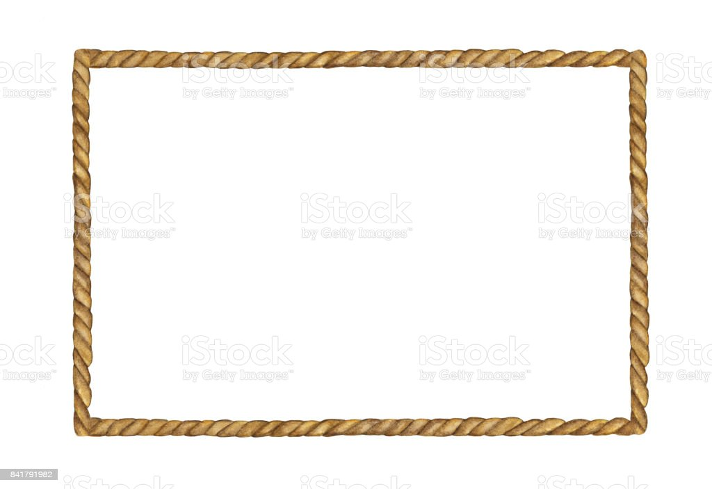 Watercolor painting of Brown Rope frame on white background vector art illustration