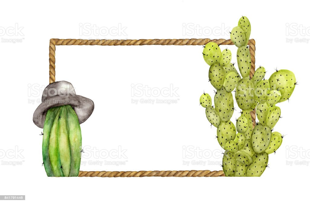 Watercolor Painting Of Brown Rope Frame With Cactus On White ...
