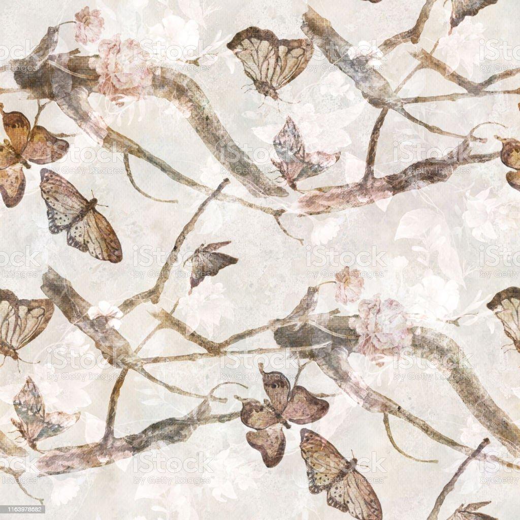 Kelebek Ve Cicekler Beyaz Arka Planda Dikissiz Desen Suluboya