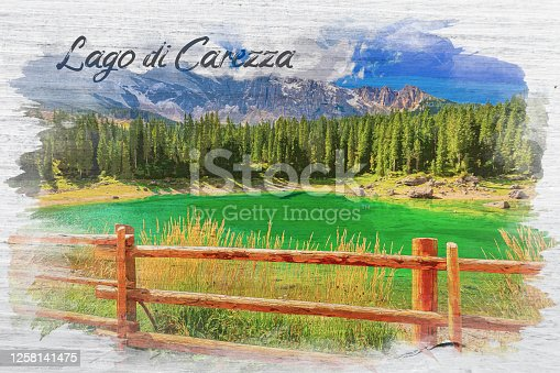 istock Watercolor painting of Carezza lake in summer, Dolomites, Italy 1258141475