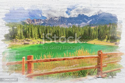 istock Watercolor painting of Carezza lake in summer Dolomites, Italy 1289635837