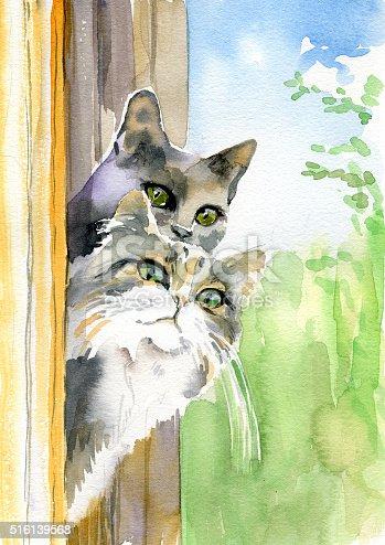 Pittura ad acquerello di gatti immagini vettoriali stock for Piani di fienile domestico
