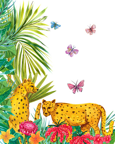 Watercolor Painting Of Cheetahs In The Jungle