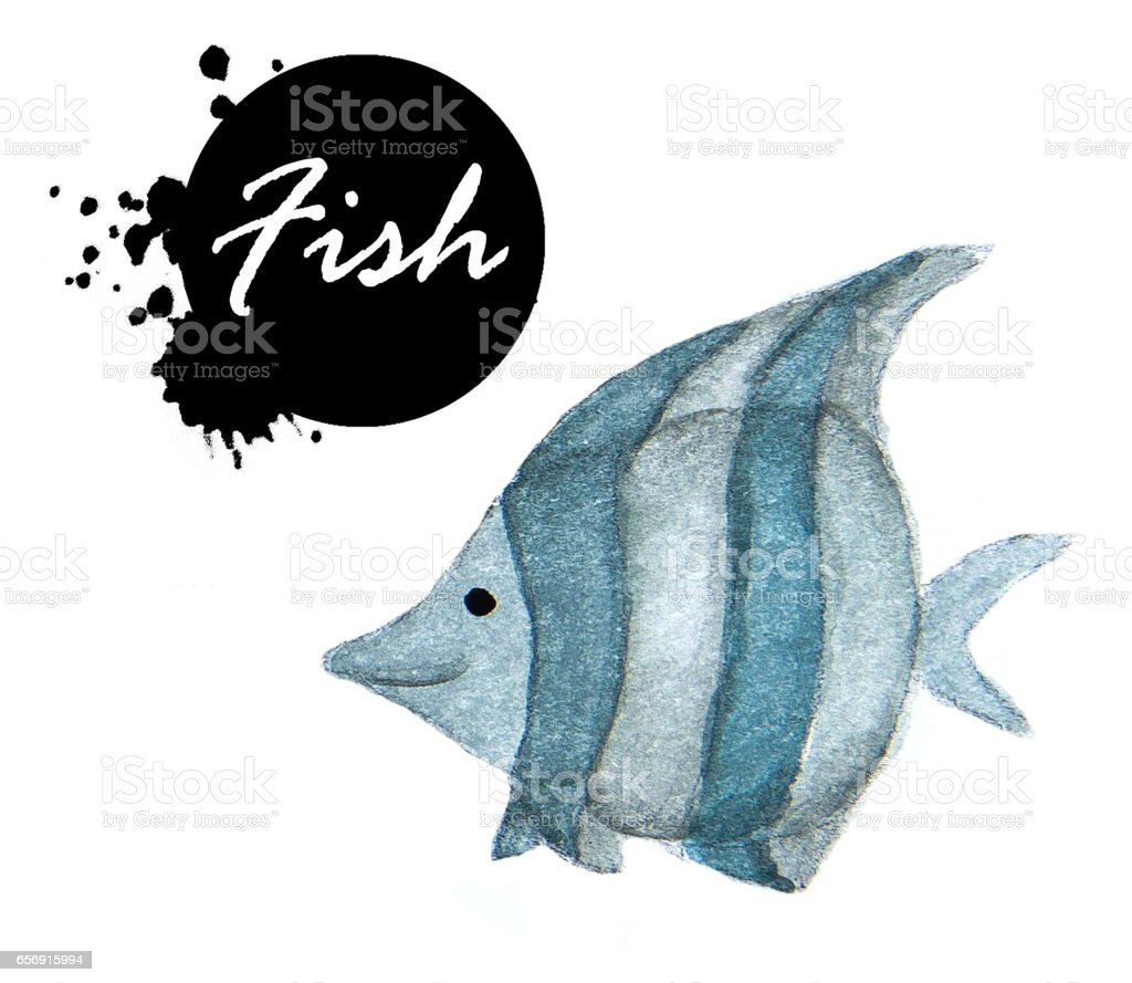 Watercolor painting of Fish on white background vector art illustration