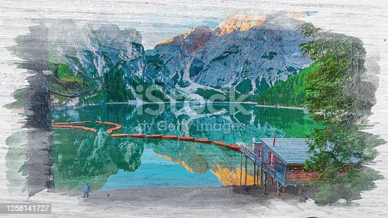 istock Watercolor painting of Lago di Braies in Dolomites, Italy 1258141727