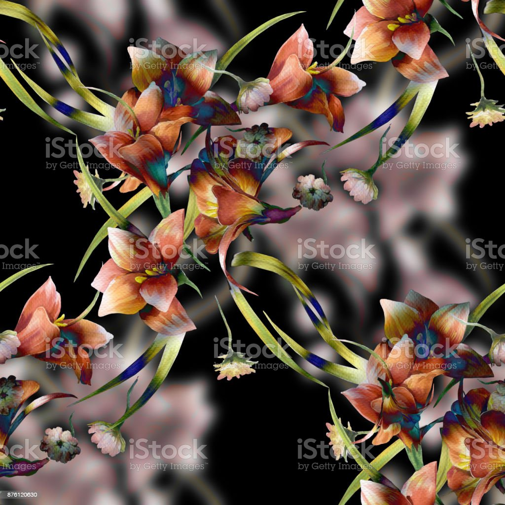 Watercolor painting of leaf and flowers, seamless pattern on dark background vector art illustration