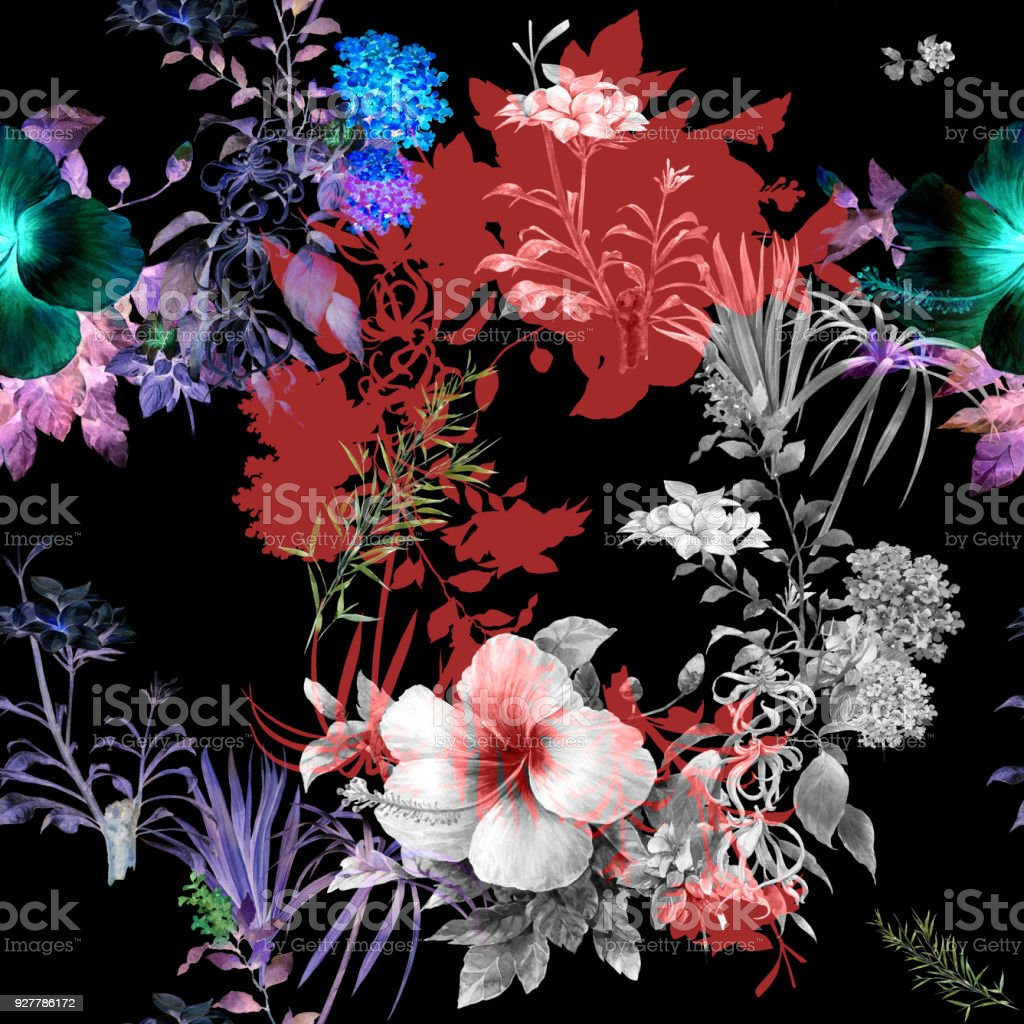 Watercolor Painting Of Leaf And Flowers Seamless Pattern On Dark