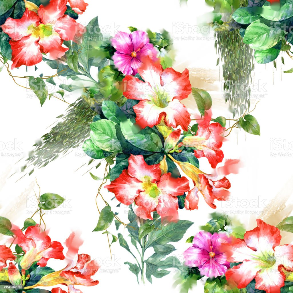 Watercolor painting of leaf and flowers, seamless pattern on white background royalty-free watercolor painting of leaf and flowers seamless pattern on white background stock vector art & more images of abstract