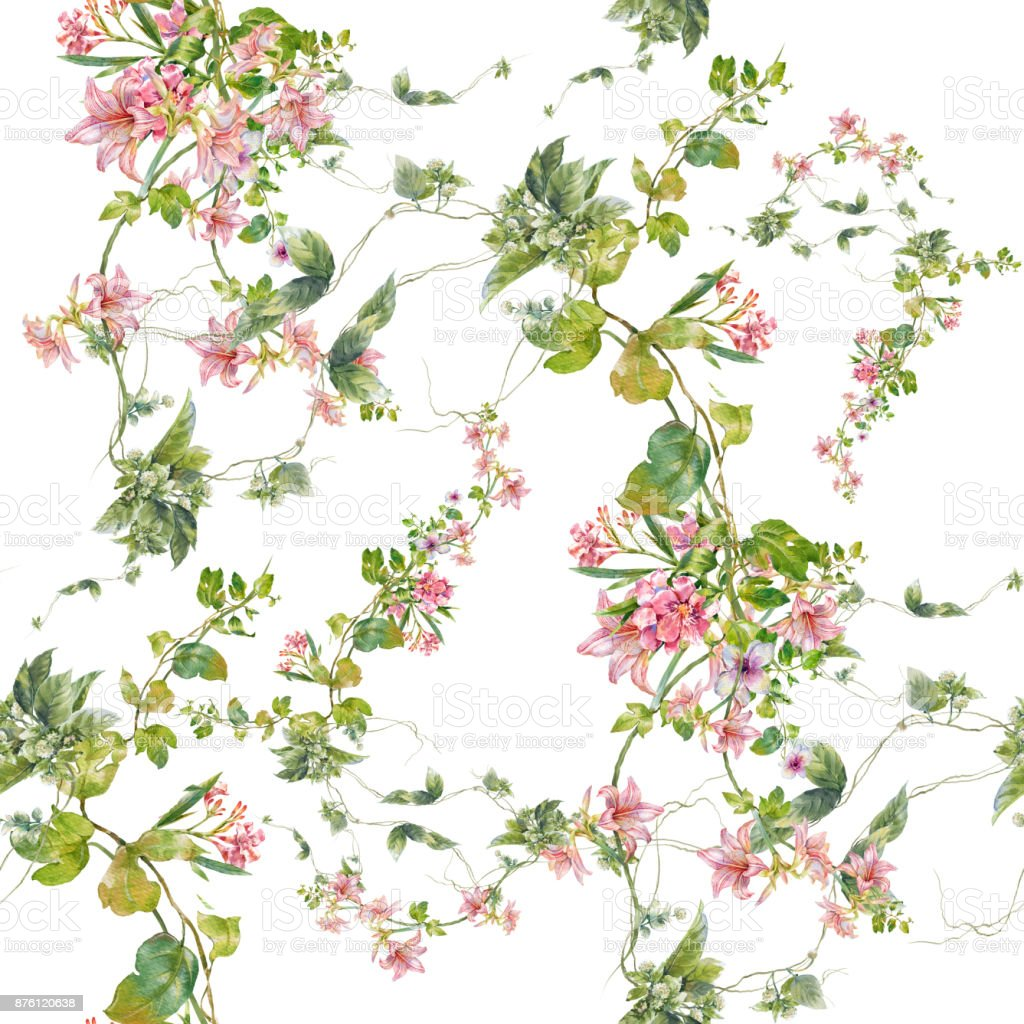Watercolor painting of leaf and flowers, seamless pattern on white background vector art illustration