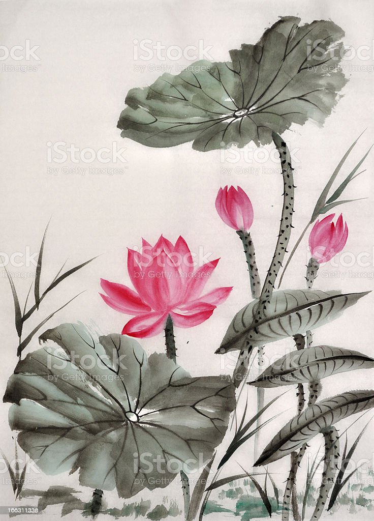 Watercolor painting of lotus flower royalty-free watercolor painting of lotus flower stock vector art & more images of art