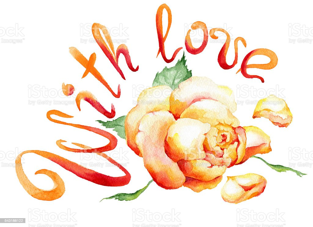Watercolor painting of rose bud and the text:'With love'. vector art illustration