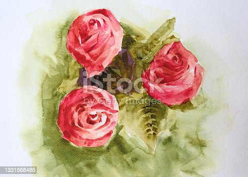 istock Watercolor painting of roses 1331568485