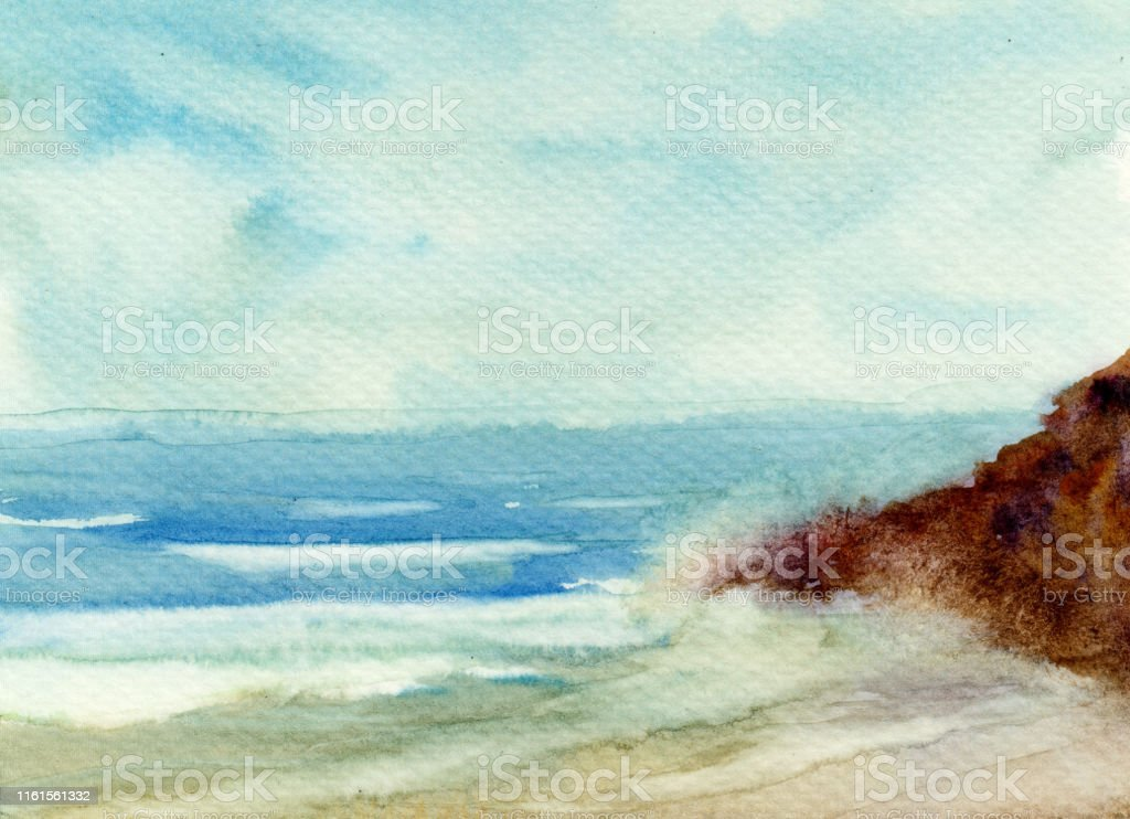 Watercolor Painting Of Stunning Beach Waves Hitting The