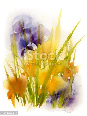 istock Watercolor painting of summer flowers in a meadow 1249202511