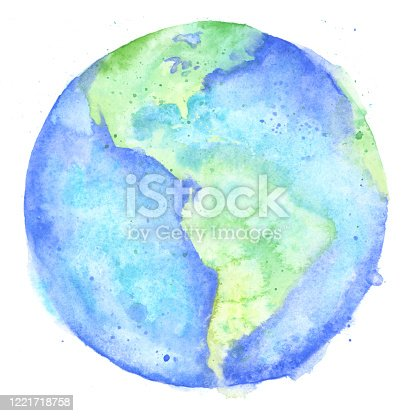 Watercolor Painting of the Earth - Raster Illustration