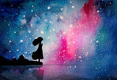 Watercolor painting of the girl pray to star for peaceful and hope in the dark night