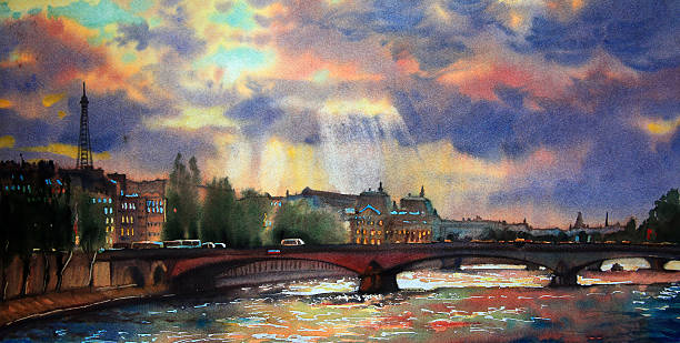 Watercolor painting of the Paris Watercolor painting of the Paris, France. impressionism stock illustrations