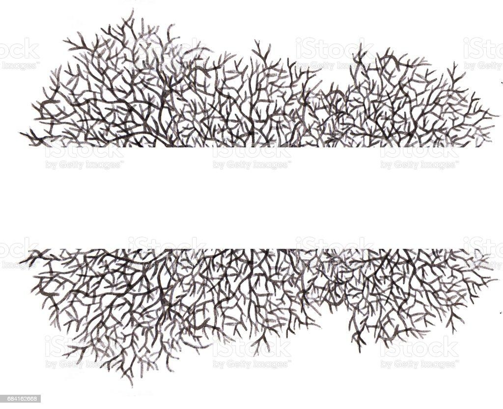 Watercolor painting of Tree without leaves silhouette with place for text watercolor painting of tree without leaves silhouette with place for text - immagini vettoriali stock e altre immagini di acquerello royalty-free