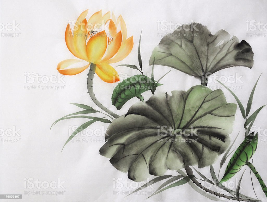 Watercolor Painting Of Yellow Lotus Flower Stock Vector Art