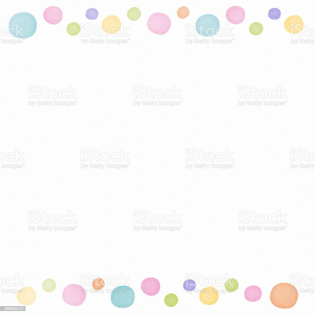 Watercolor painting polka dot frame copy space vector art illustration