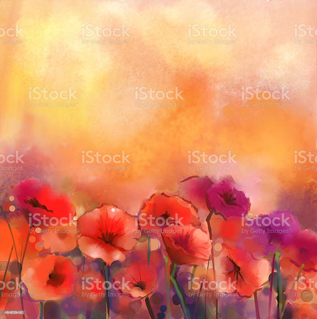 Watercolor painting red poppy flowers vector art illustration