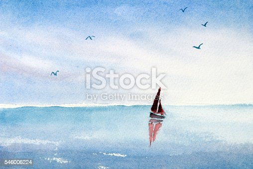 Watercolor painted scene of a single red sail boat on a turquoise blue ocean or lake. Sea gulls are flying above.