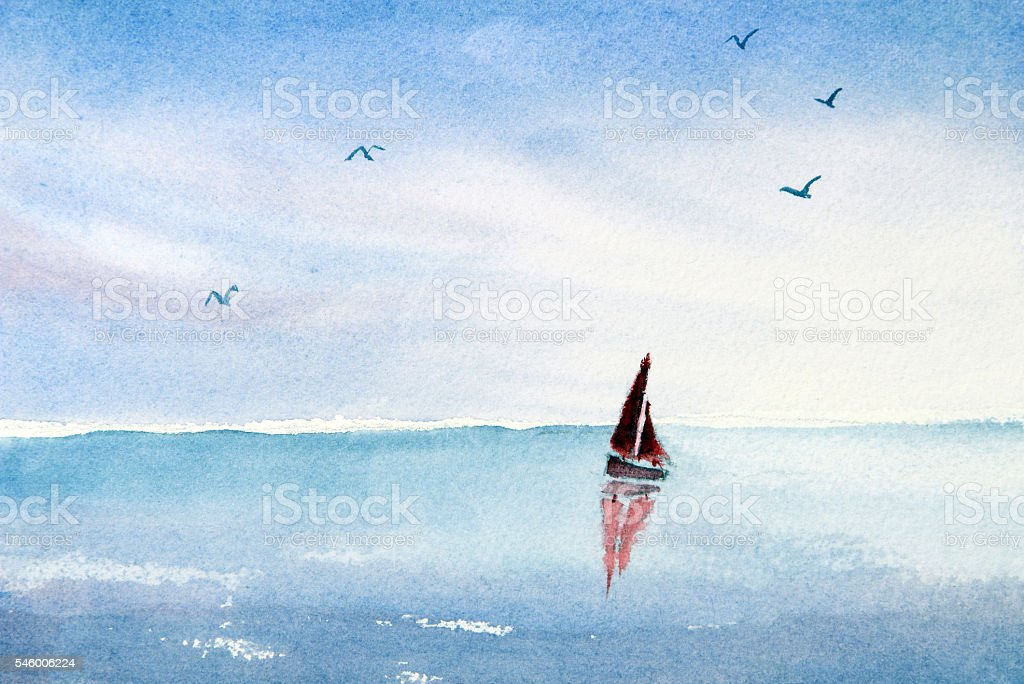 Watercolor painting sail boat on an ocean or lake - illustrazione arte vettoriale