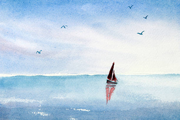Watercolor painting sail boat on an ocean or lake vector art illustration