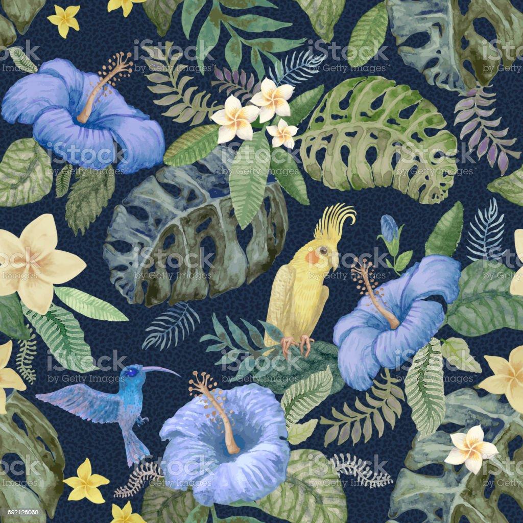 Aquarell Malerei Nahtlose Hell Farbige Blumenmuster Von Hand