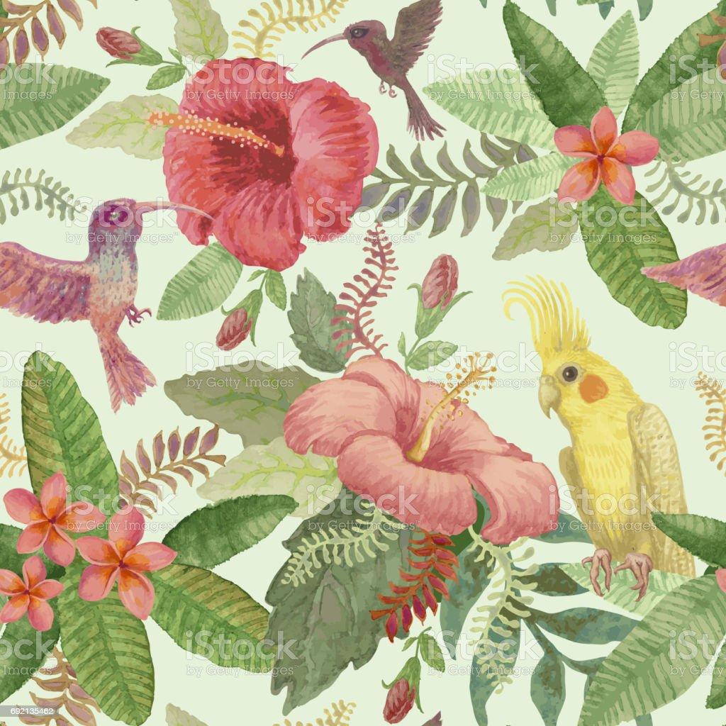 Acuarela Pintura Transparente Brillante Coloreado Patrón De Flores ...