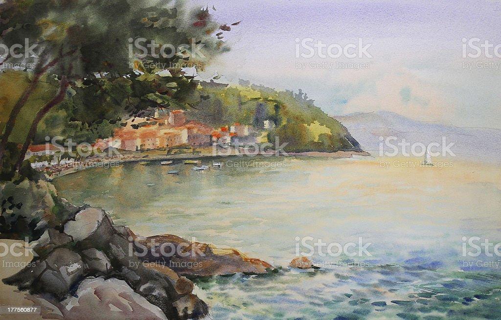 Watercolor painting seascape. vector art illustration