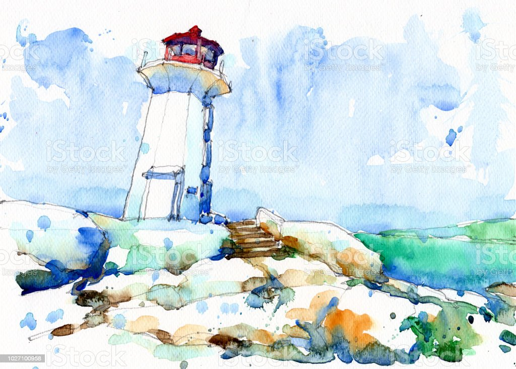 Watercolor Painting Set Of Canada Peggys Point Lighthouse