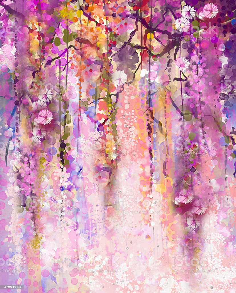 Watercolor Painting Spring Purple Flowers Wisteria Background Stock