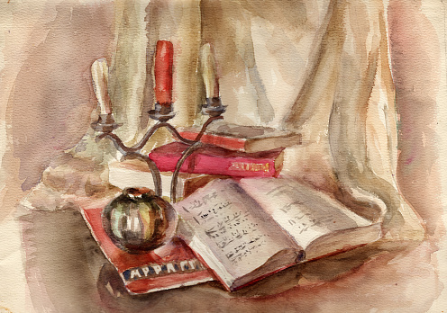 Watercolor painting. Still life illustration with open musical notes, candlestick with three candles, red old book on a beige drapery background