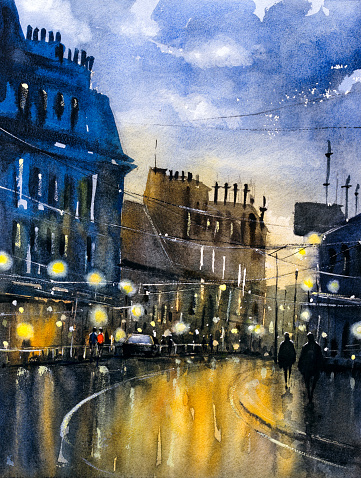 Watercolor Painting - Street View of Paris