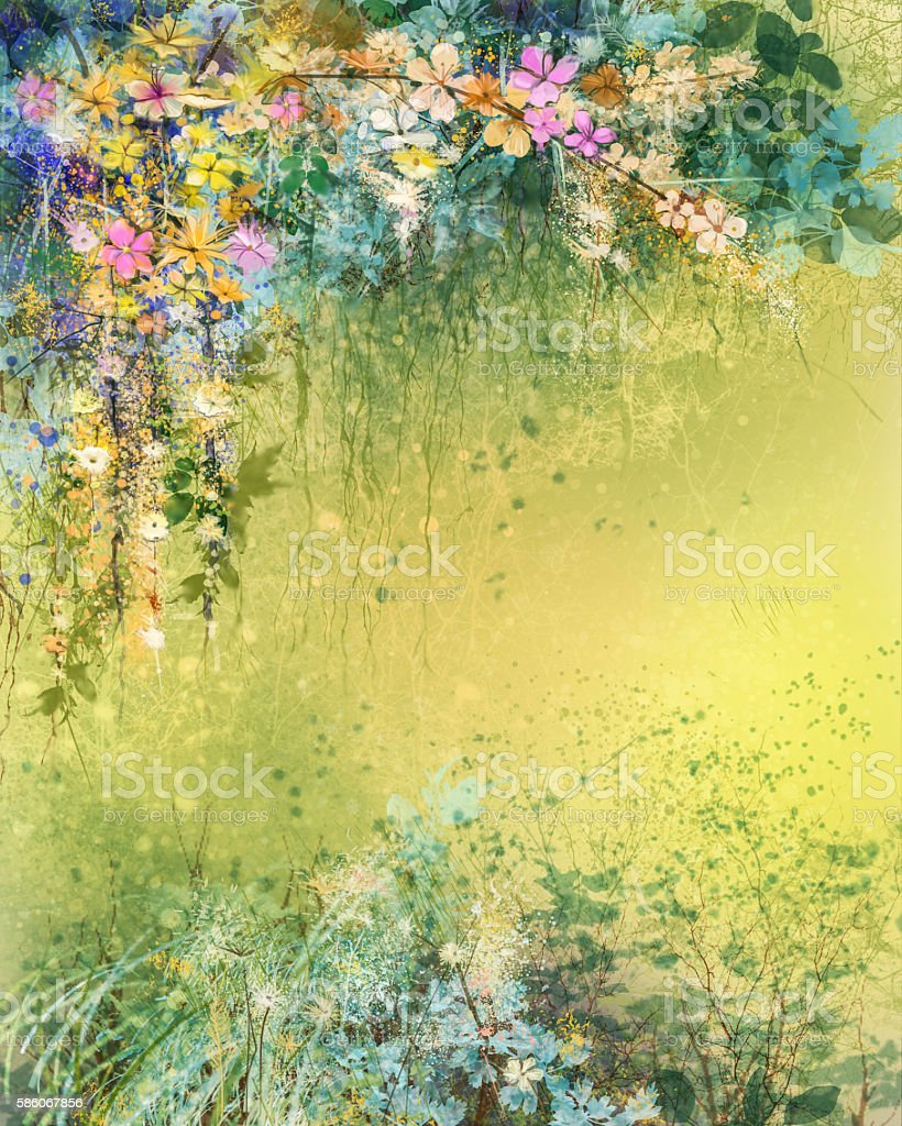 Watercolor Painting White Yellow Red Ivy Flowers Stock Vector Art