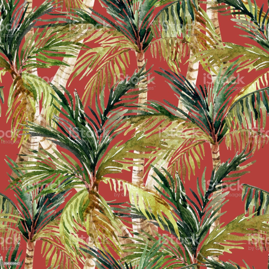 Watercolor palm tree seamless pattern royalty-free watercolor palm tree seamless pattern stock vector art & more images of backgrounds