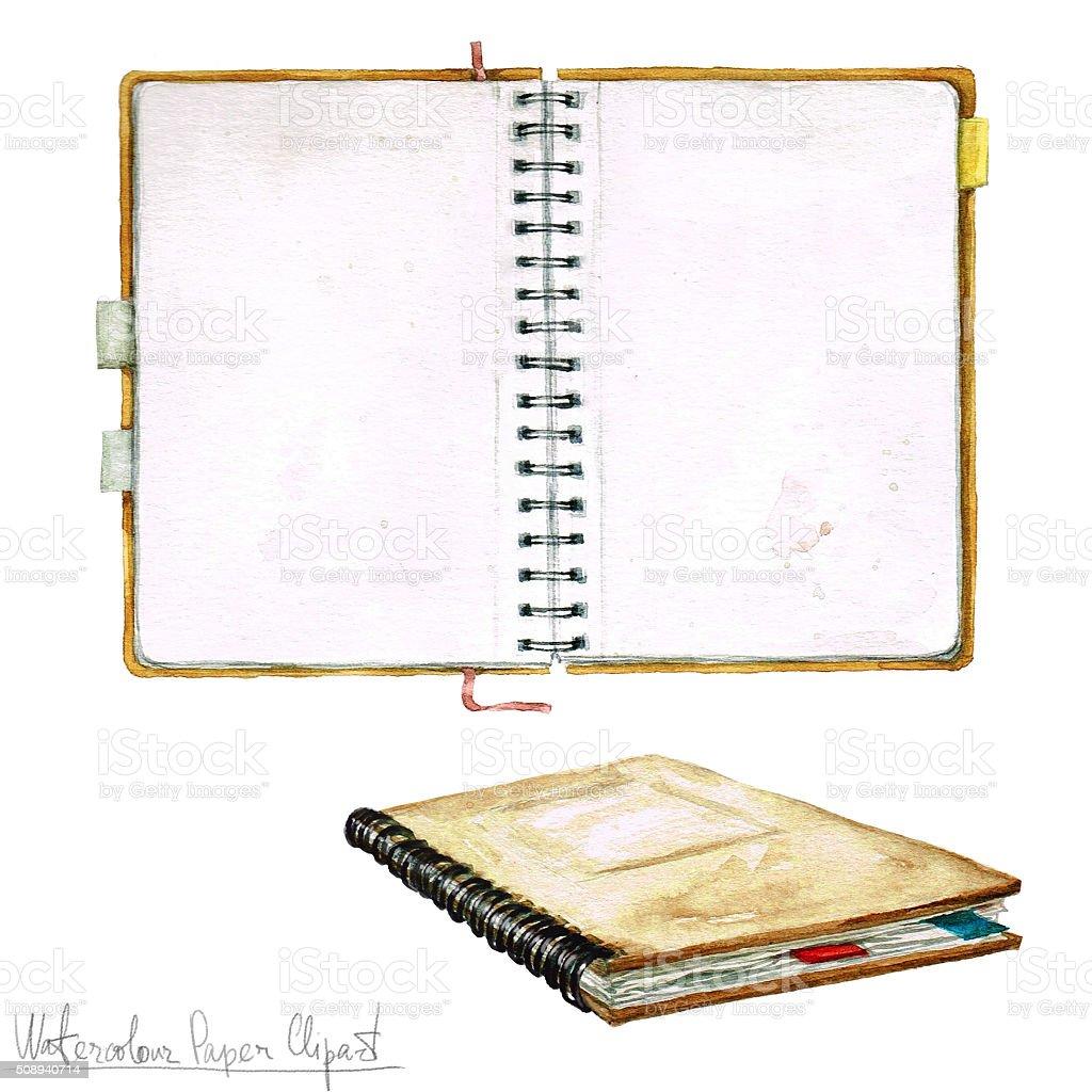 ウォーターカラーペーパークリップアートオープンノート