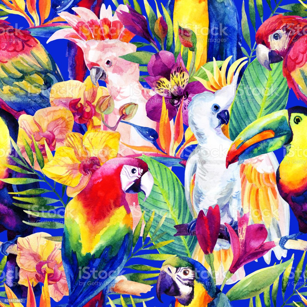 watercolor parrots with tropical flowers seamless pattern vector art illustration