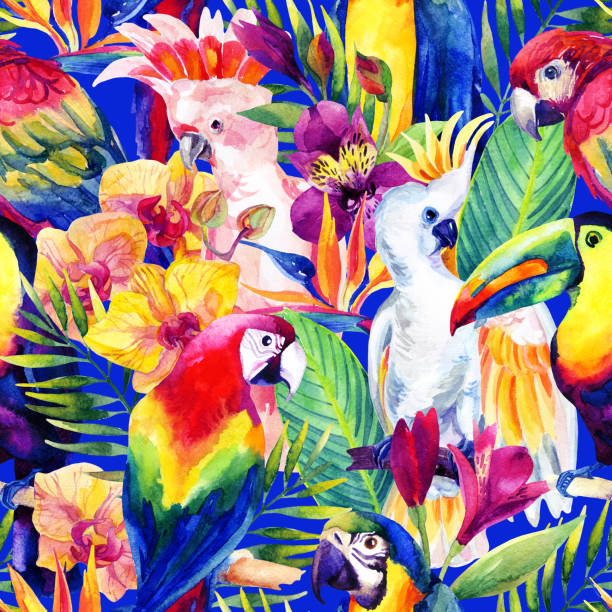 Loros acuarela patrón sin costuras con flores tropicales - ilustración de arte vectorial