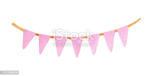 istock Watercolor party garland with triangle flags. Hand painted pink hanging Birthday decoration 1312938230