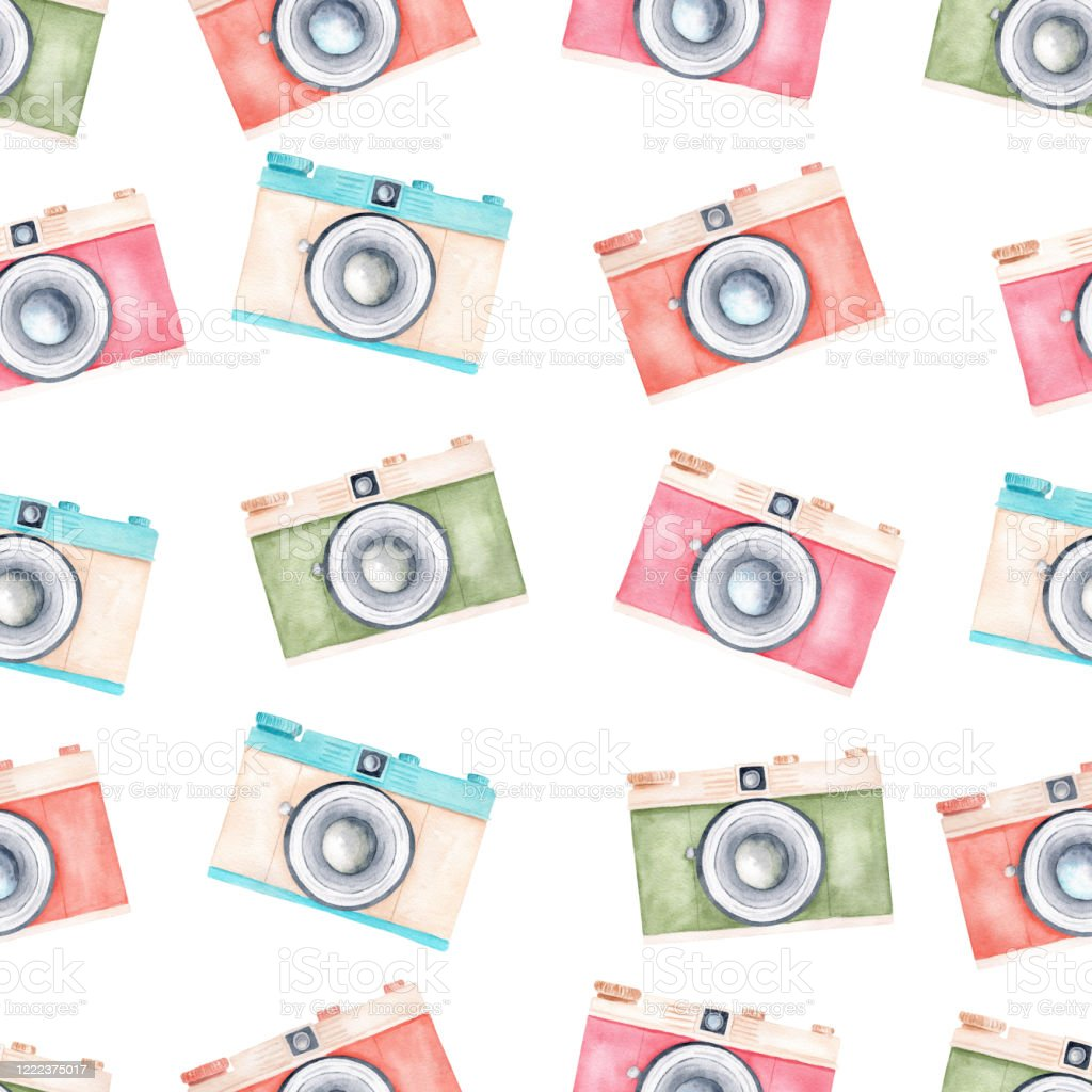 Watercolor Pastel Color Vintage Retro Cameras Clipart Seamless Pattern Digital Paper Stock Illustration Download Image Now Istock