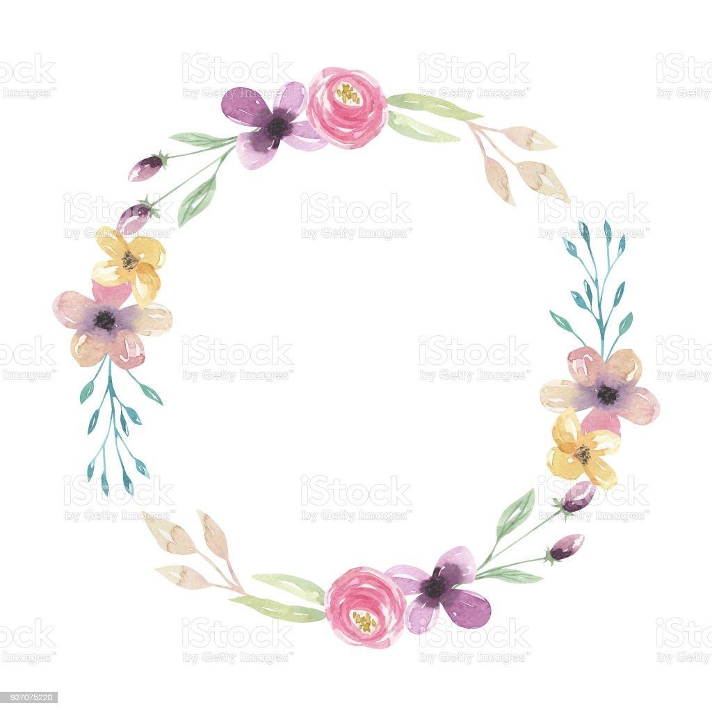 Hand Painted Watercolor Pastel Pink Purple Wreath Floral Flowers...