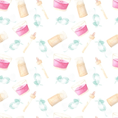 Watercolor pattern from illustrations candle, deodorant, green leaves, dispense