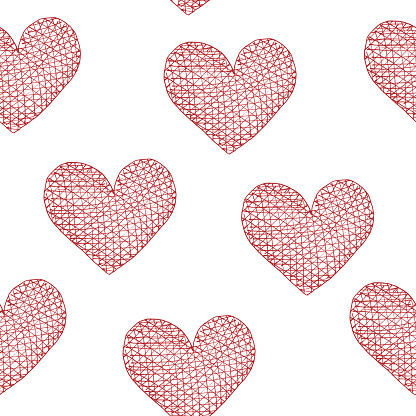 Watercolor pattern hearts in tangled line.