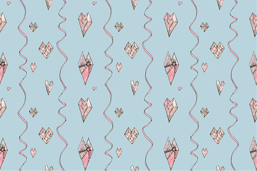 Watercolor pattern of pink hearts, drawn by hand on a light blue background.