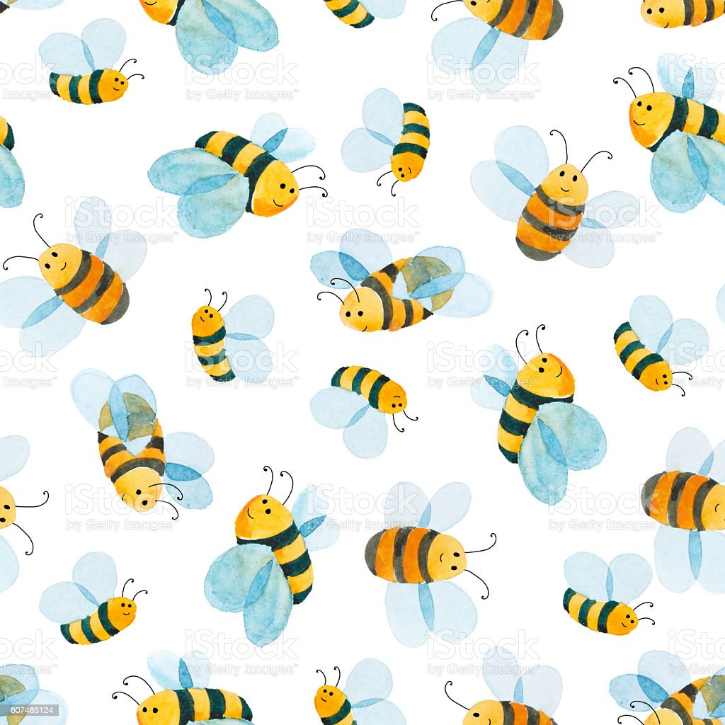 watercolor pattern of smiling bee vector art illustration