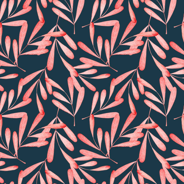 watercolor pattern, red leaves vector art illustration